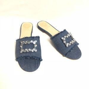 Vince Camuto Jeweled Denim Slippers BP-FAVYAN